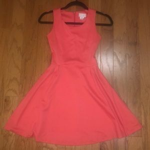 Melon/coral fit and flare dress